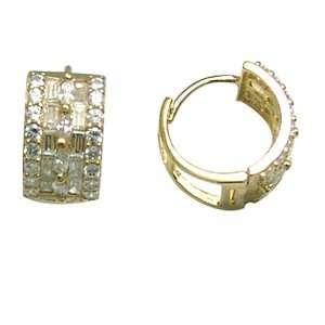 Flowing CZ Shield 14K Yellow Gold Huggie Earrings Jewelry