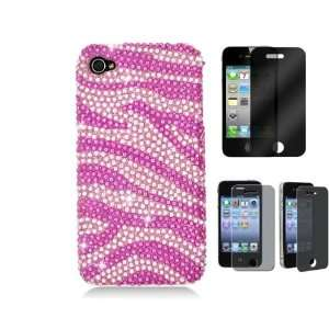for iPhone 4 4S Cover Case Pink Zebra Pattern + One Privacy iPhone