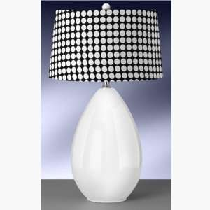 Modern 30 White Ceramic Egg Table Lamp with Black Hardback Drum shade