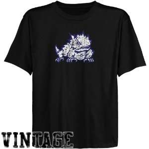 Shirts  TCU Horned Frogs Youth Black Distressed Logo Vintage T Shirt