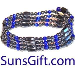 Magnetic Hematite Bracelet Necklace Cat Eye Blue 32