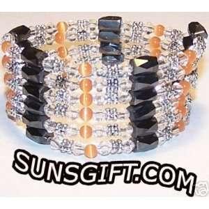 SILVER CLEAR CRYSTAL Magnetic Bracelet ORANGE
