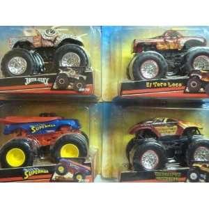 Hot Wheels Monster Jam 4 Popular Trucks Jurassic Attack, Maximum