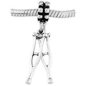 Silver Three Dimensional Medical Crutches Dangle Bead Charm Jewelry