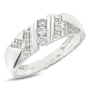 Round Cut Diamond Mens Wedding Ring 14K White Gold Wedding Ring