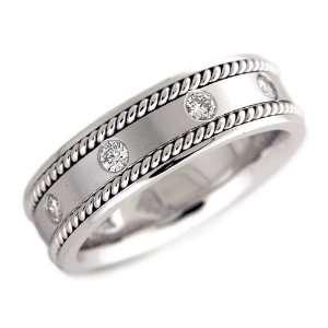 MENS WEDDING BAND WHITE GOLD 1/4 CT DIAMOND Samuel David