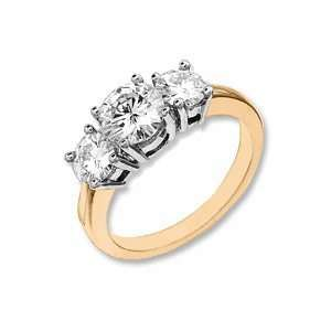 2 CT TW 14KY Moissanite 3 Stone Ring/14kt yellow gold Jewelry