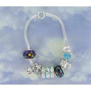 Sterling Silver 8 Bead Charm Friendship Story Bracelet with Pandora