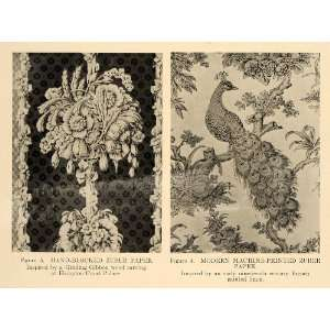 1918 Print Hand Blocked Zuber Wall Paper Decor Peacock   Original