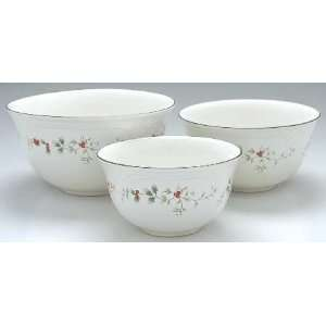 Pfaltzgraff Winterberry 3 Piece Mixing Bowl Set, Fine China Dinnerware