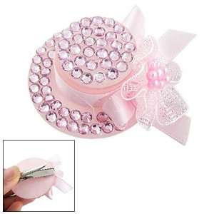 Lady Pink Plastic Crystal Hat Style Alligator Hair Pin Beauty