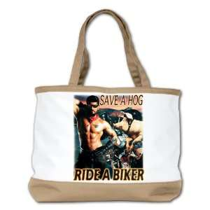 Shoulder Bag Purse (2 Sided) Tan Save A Hog Ride A Biker