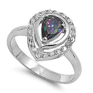 Silver & Pear Cut Rainbow Topaz Ring (Size 5   9)   Size 7 Jewelry