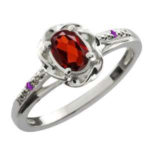 56 Ct Oval Red Garnet Purple Amethyst 10K White Gold Ring Jewelry