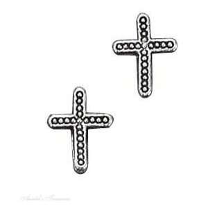 Silver Beaded Christian Religious Cross Post Earrings Jewelry