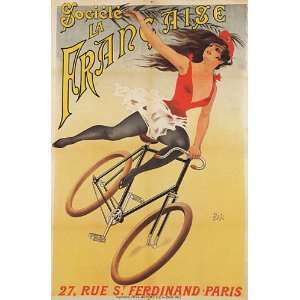 PARIS BICYCLE WOMAN VINTAGE POSTER CANVAS REPRO Home & Kitchen