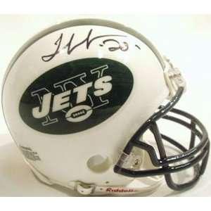 Thomas Jones Signed Mini Helmet   Jets Riddell