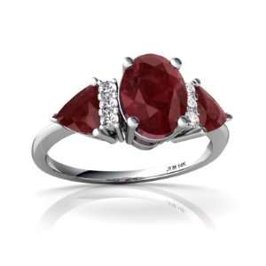 14K White Gold Oval Genuine Ruby 3 Stone Ring Size 4.5 Jewelry