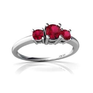 14K White Gold Round Created Ruby 3 Stone Ring Size 4.5 Jewelry