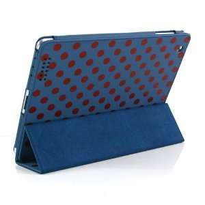 Blue and Red Polka Dot Pattern Leather Flip Stand Case