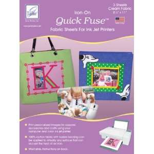 Quick Fuse Iron On Inkjet Fabric Sheets Cream 8 1/2X11 3