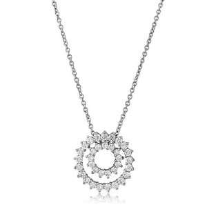 Sterling Silver Cubic Zirconia Pendant Double Circle Pendant Necklace