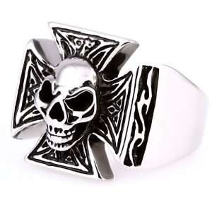 Sinister Grinning Skull Biker Ring (avail. in sizes 8 to 16) Jewelry