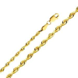 14K Yellow Gold 3mm Diamond Cut Solid Rope Chain Necklace with Lobster