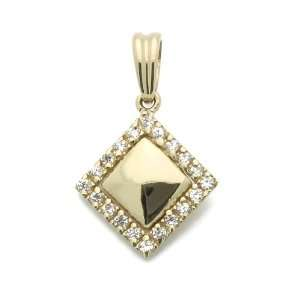 Pendant Square Cubic Zirconia Yellow Gold Charm, 0.5 X 0.75 Jewelry