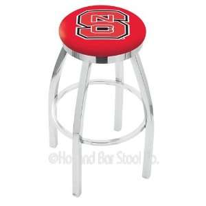State Wolfpack Logo Chrome Swivel Bar Stool Base with Flat Accent Ring