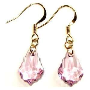 Light Amethyst Swarovski Crystal Earrings   14K Gold