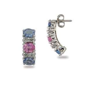 Gold Pink Sapphire and Tanzanite and Diamond Earring Grande Jewelry