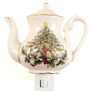 Victorian Christmas Tree Teapot Porcelain Night Light