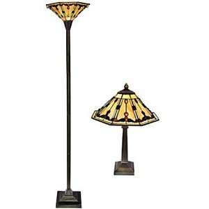 and Amber Tone Tiffany Style Stained Glass Lamp Set: Home Improvement