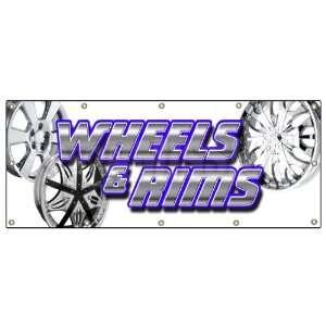 SIGN chrome rim wheel tires signs auto parts Patio, Lawn & Garden