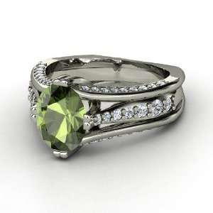 Concerto Ring, Oval Green Tourmaline 14K White Gold Ring