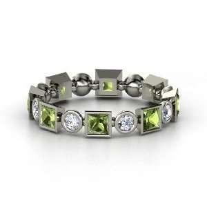Band, 14K White Gold Ring with Green Tourmaline & Diamond Jewelry