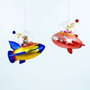 KIDS IN SPACESHIPS ROCKETS Boy and Girl Christmas Ornaments Set of 2