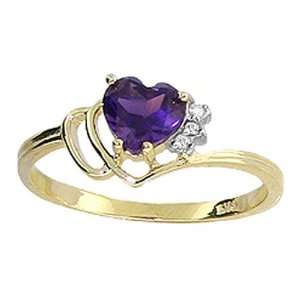 14k Solid Gold Amethyst with Diamond Heart Ring   Size 7 Jewelry