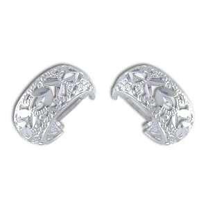 14kt White Gold Diamond Cut Filigree Hoop Earrings Gold
