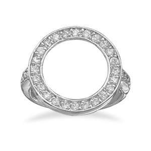 Rhodium Plated Open Circle CZ Ring 2.3mm Wide Band With 2
