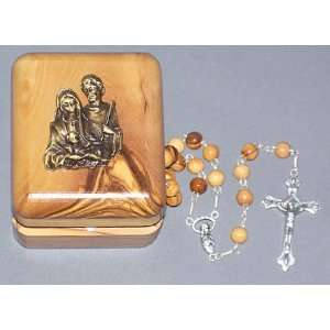 7 mm round Olive Wood Rosary   Holy Family   18 long