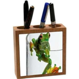 com Rikki KnightTM Frog in cup 5 Inch Tile Maple Finished Wooden Tile
