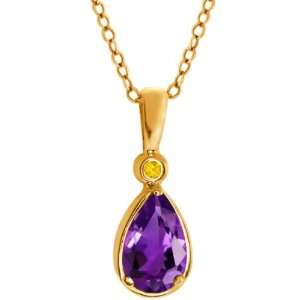 1.01 Ct Pear Shape Purple Amethyst Sapphire Gold Plated