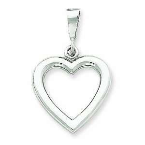 14K White Gold Simple Polished Heart Pendant GEMaffair