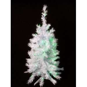 Lit White Artificial Christmas Tree   Green Lights