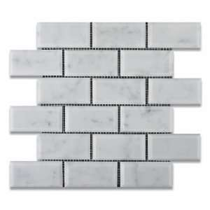 Bianco Carrara White Marble 2 X 4 Honed & Beveled Brick Mosaic Tile