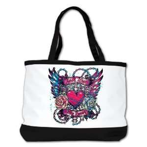 Purse (2 Sided) Black Look After My Heart Roses Chains and Angel Wings