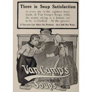 Print Ad Van Camps Soup Dutch Children Boy Girl   Original Print Ad