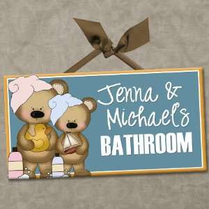 Bears Personalized Kids Bathroom Wall Door Sign BROTHER & SISTER